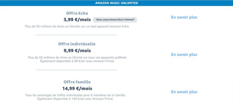 Amazon Music Unlimited Prix