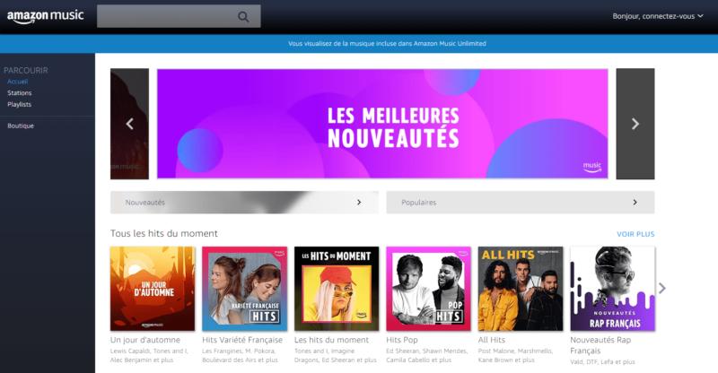 Interface Amazon Music