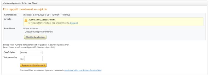 Appel service client Amazon