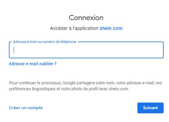 Connexion via Google