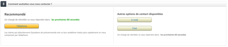 Contact service client Amazon
