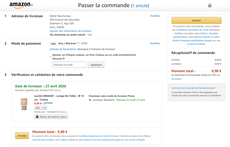 Validation achat sur Amazon