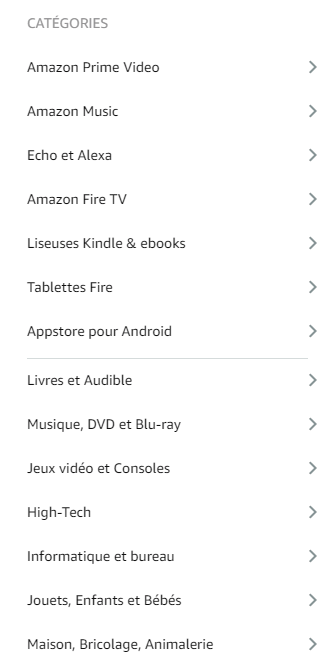 Liste catégories Amazon