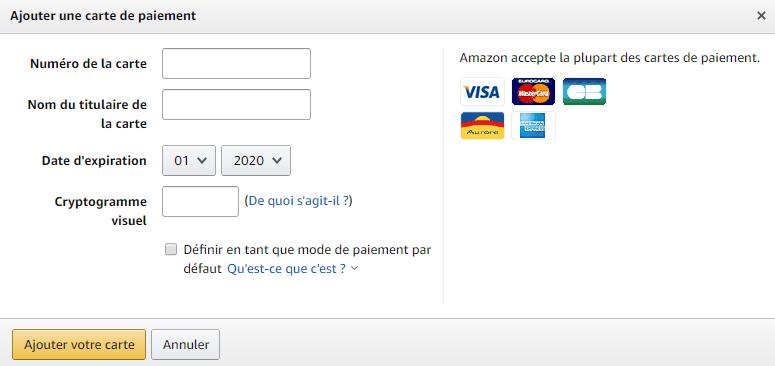Mode de paiement pour acheter sur Amazon