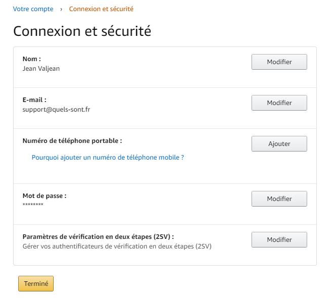 Connexion et sécurité