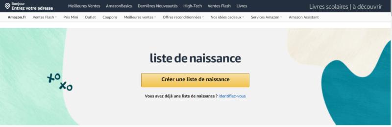 """Bouton """"créer une liste de naissance Amazon"""""""