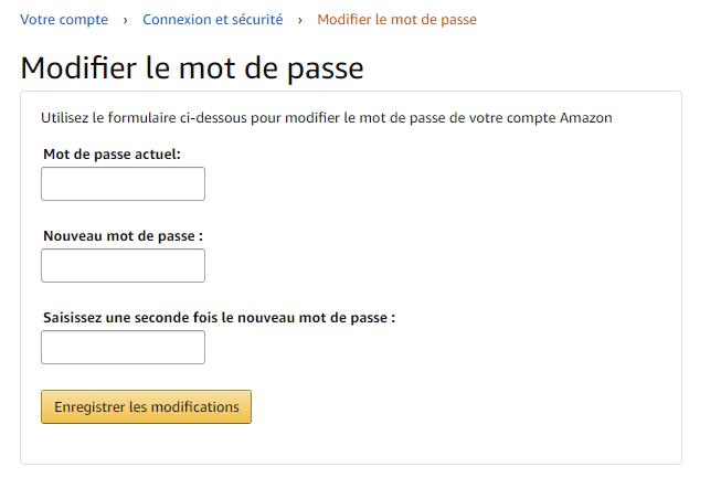 Modifier mot de passe Amazon