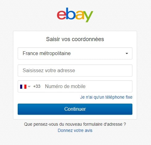 Ajouter adresse postale Ebay