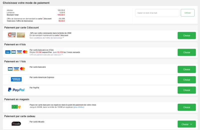 Choix paiement PayPal Cdiscount