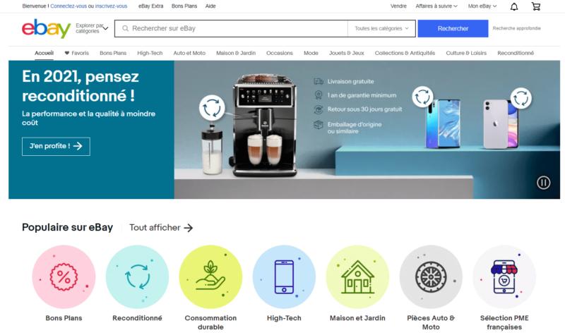 Page d'accueil Ebay en français