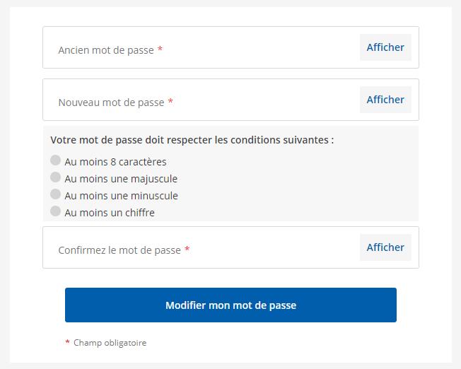 modifier mot de passe
